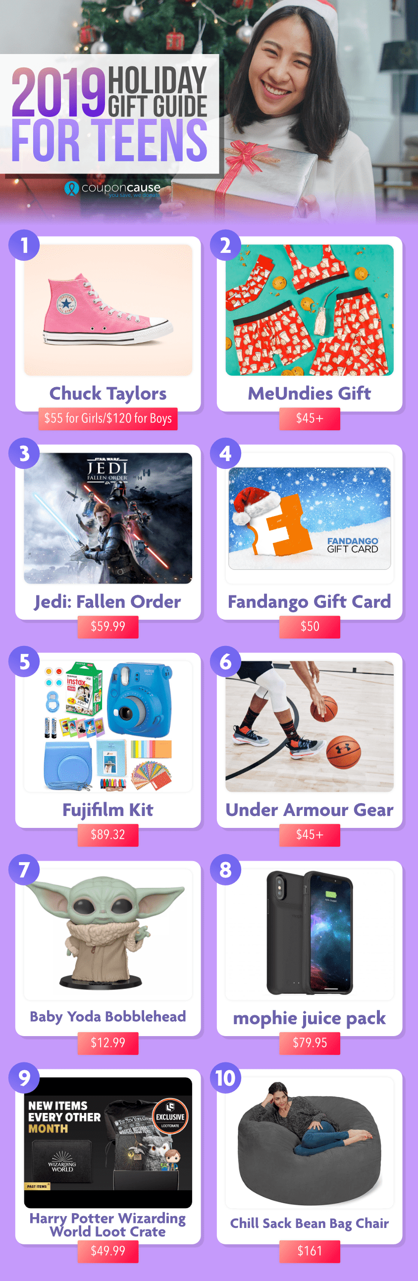 CouponCause Holiday Gift Guide for Teens 2019