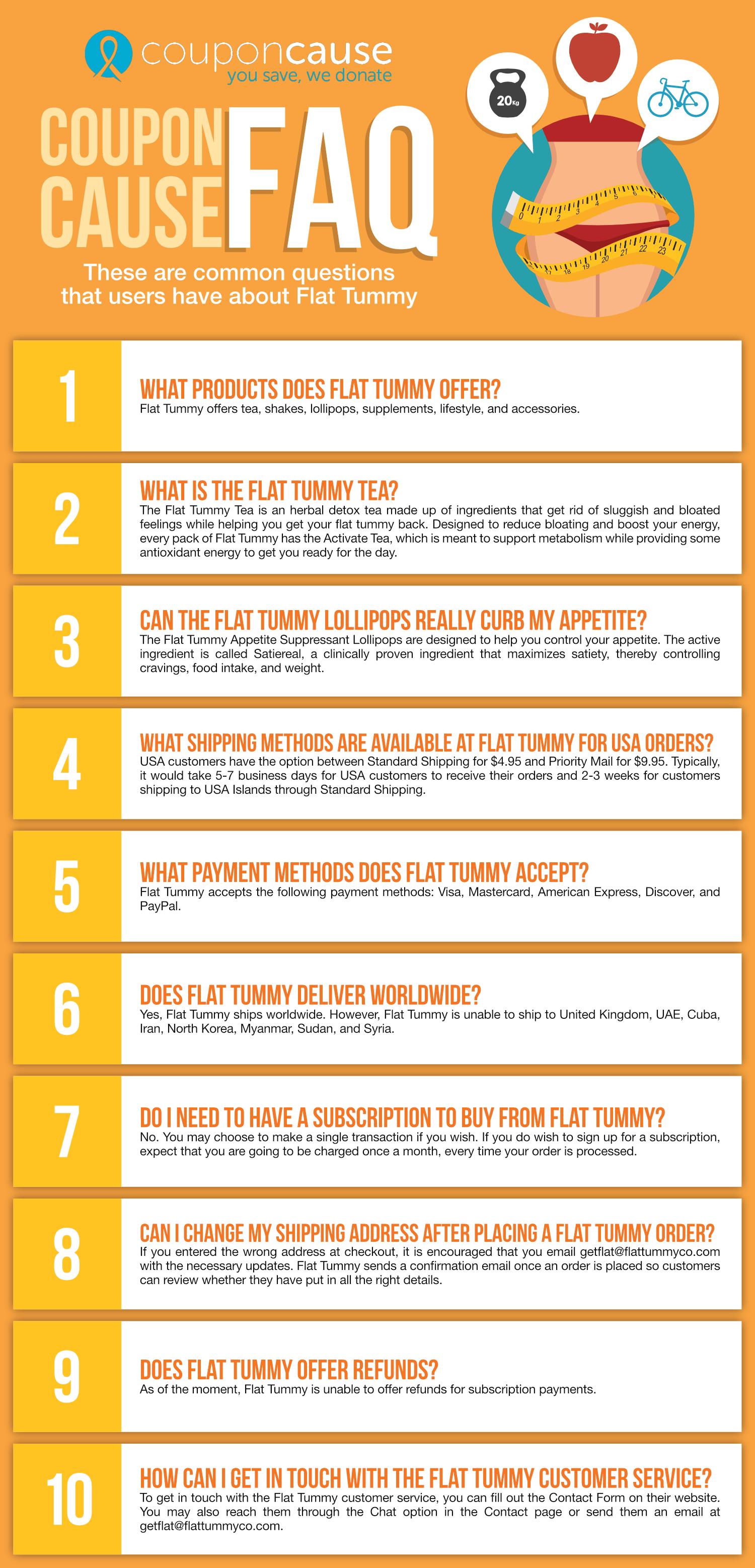 Flat Tummy Coupon Cause FAQ (C.C. FAQ)
