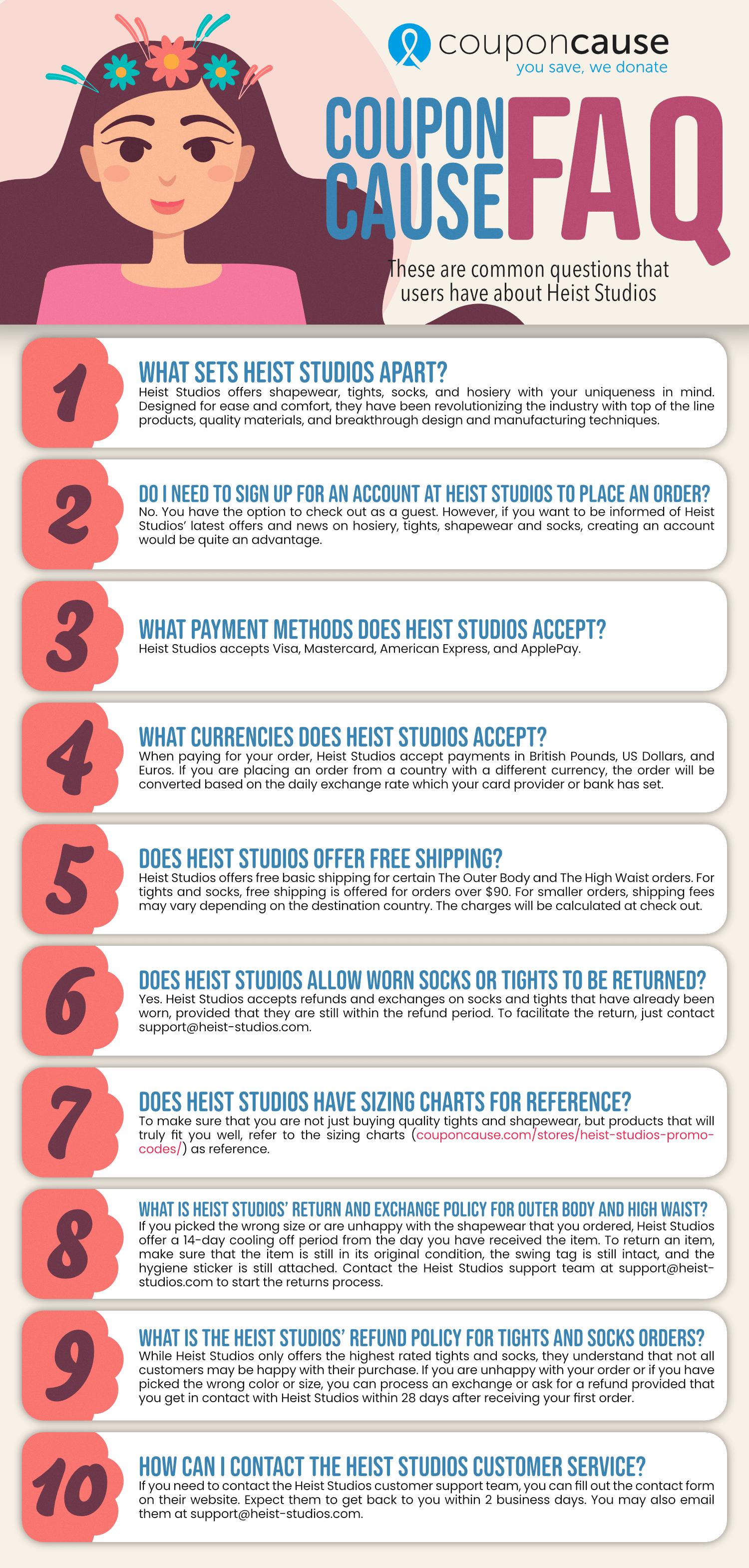 Heist Studios Coupon Cause FAQ (C.C. FAQ)