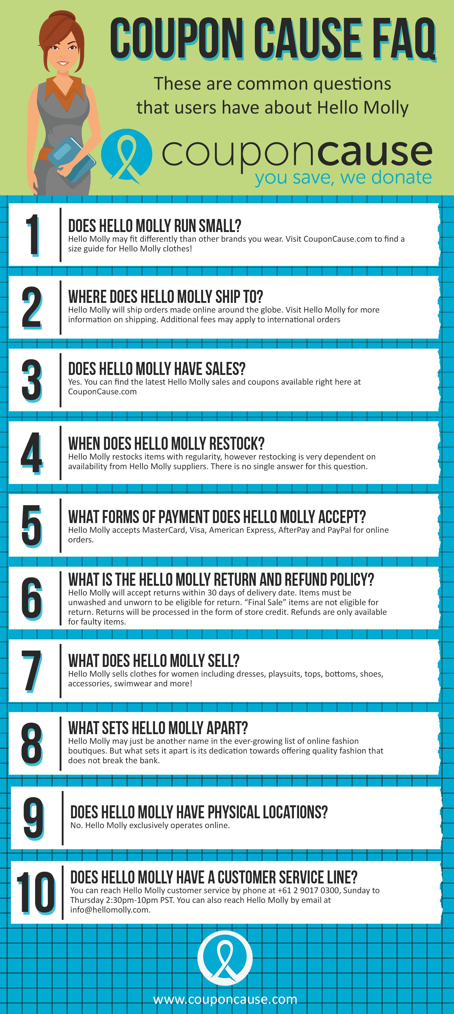 Hello Molly Coupon Cause FAQ (C.C. FAQ)