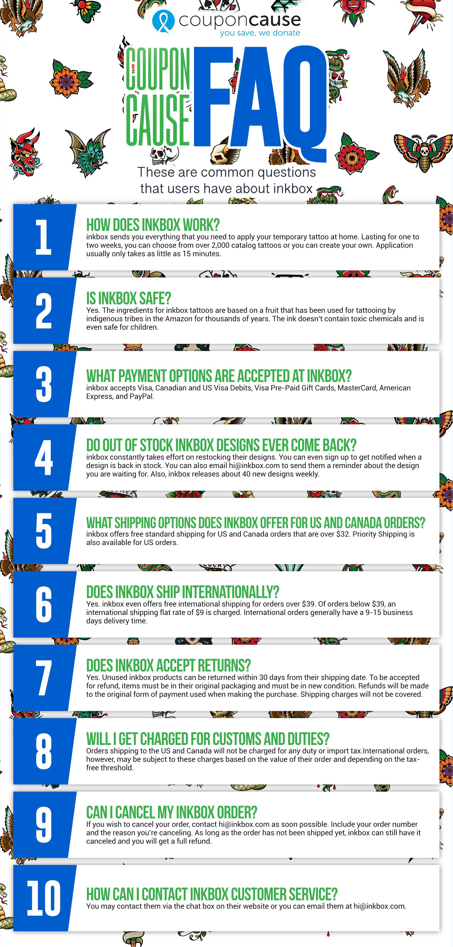 inkbox Infographic Order Coupon Cause FAQ (C.C. FAQ)