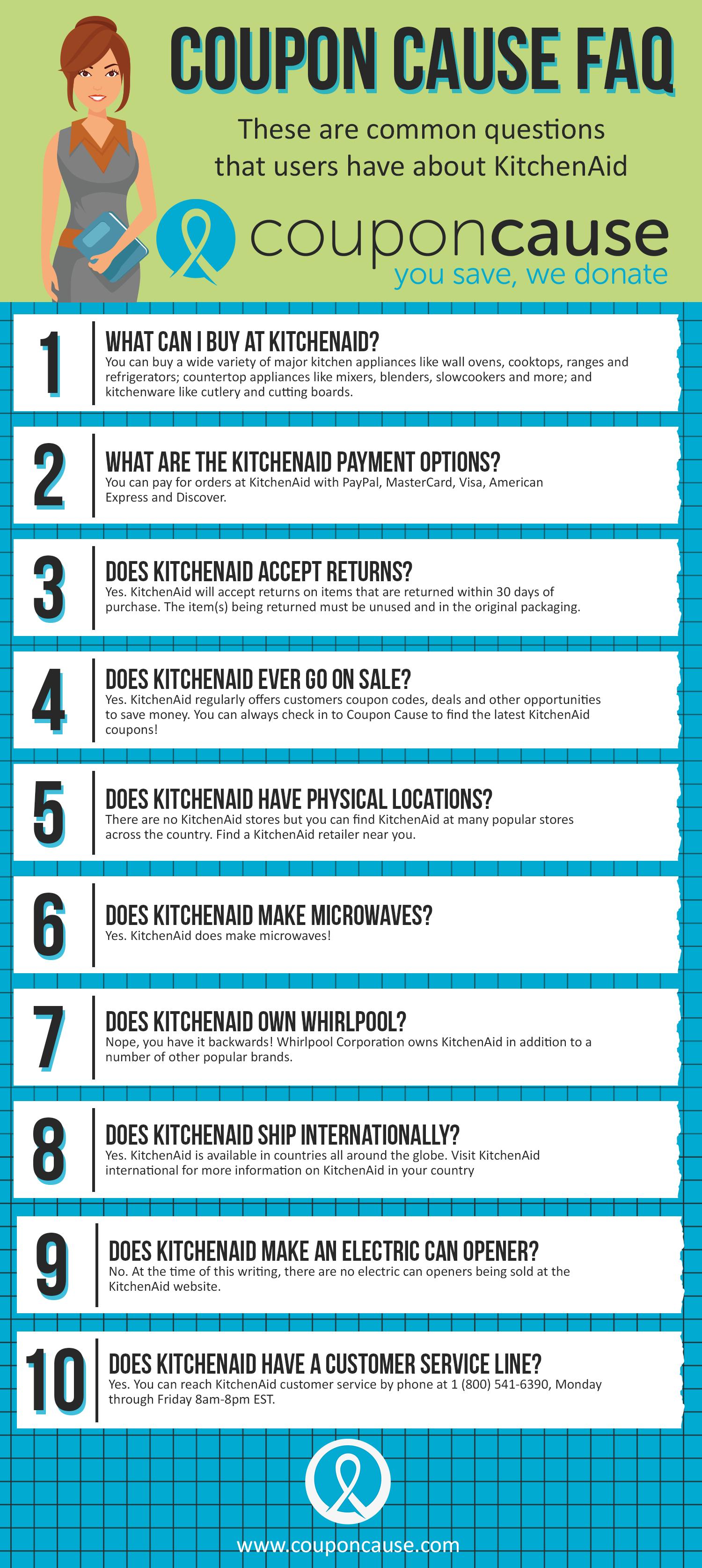 KitchenAid Coupon Cause FAQ (C.C. FAQ)