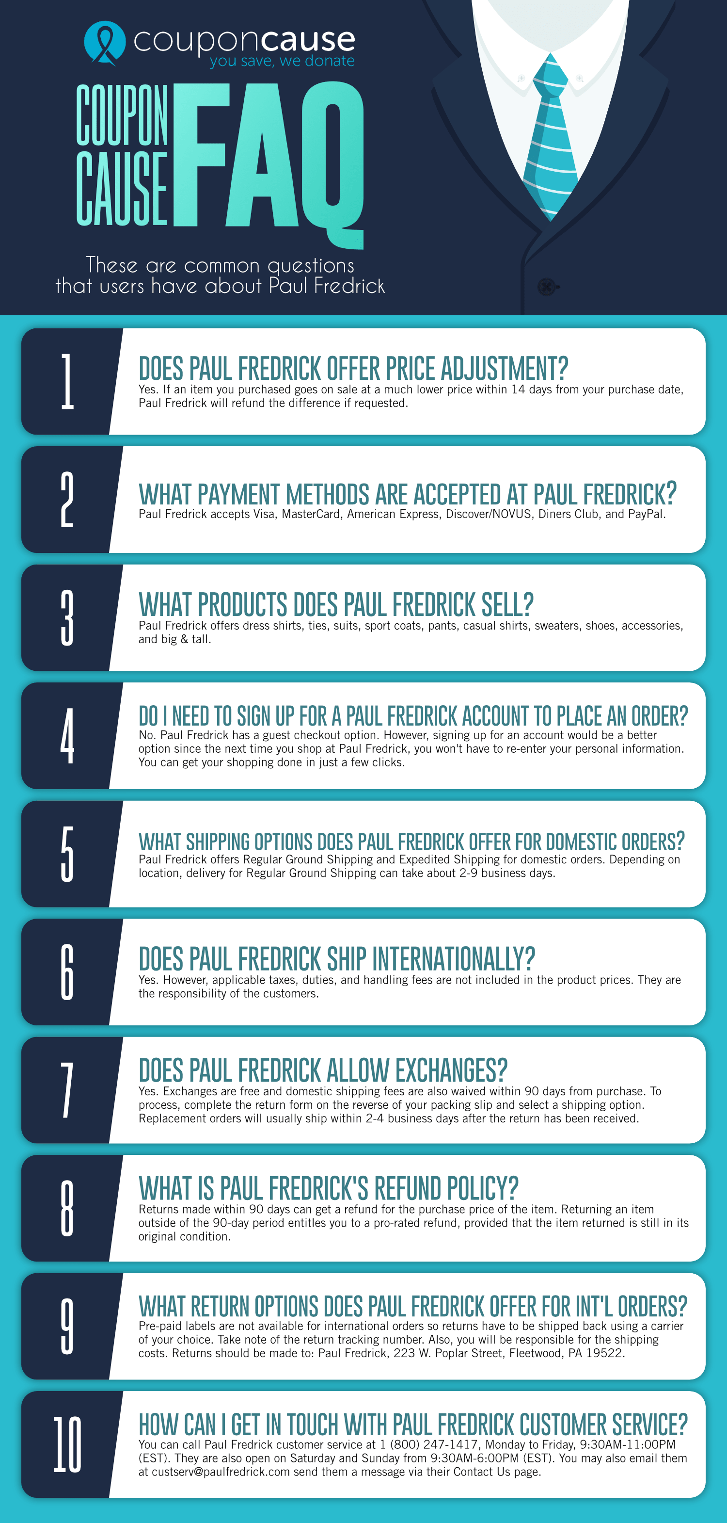 Paul Fredrick Infographic Order Coupon Cause FAQ (C.C. FAQ)