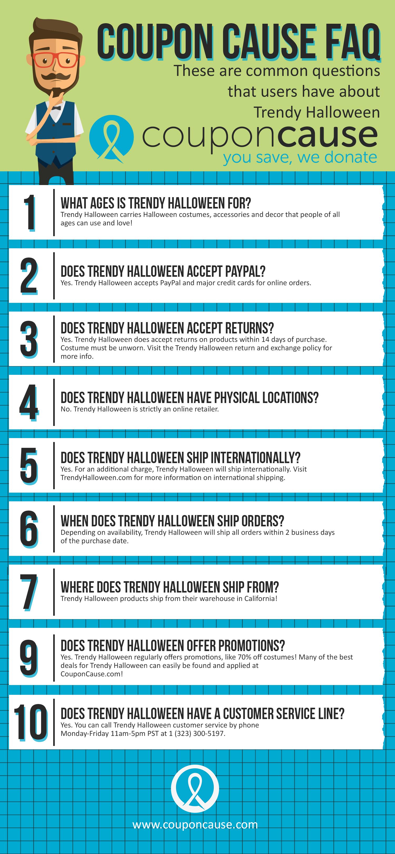 Trendy Halloween Coupon Cause FAQ (C.C. FAQ)