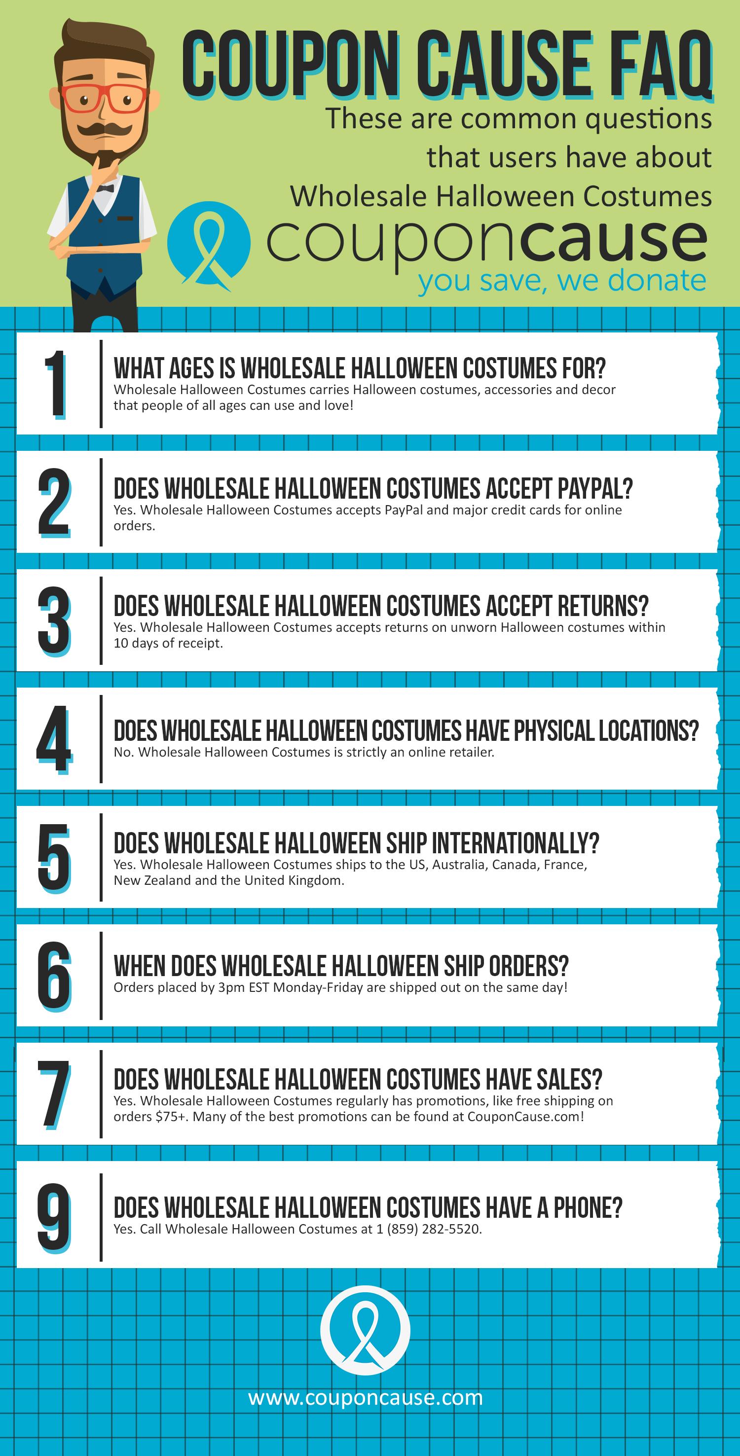 Wholesale Halloween Costumes Coupon Cause FAQ (C.C. FAQ)